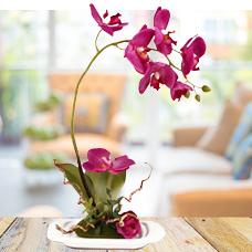 گل مصنوعی ارکیده با گلدان مدل 14074