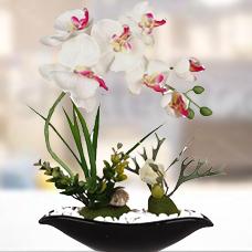 گل مصنوعی ارکیده با گلدان مدل 14063
