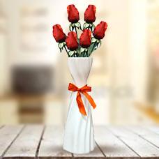 گلدان با 6 شاخه گل رز