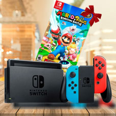 With Neon Blue and Neon Red Joy Con Station Bundle MARIO+RABBIDS