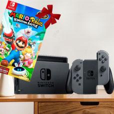 Nintendo Switch With Gray Joy Con Station Bundle MARIO+RABBIDS