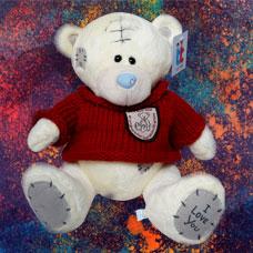 عروسک خرس سفید لباس قرمز
