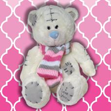 عروسک خرس سفید شالگردنی