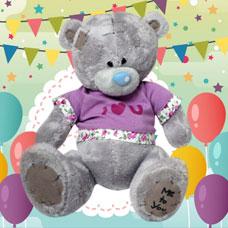 عروسک خرس خاکستری لباس بنفش